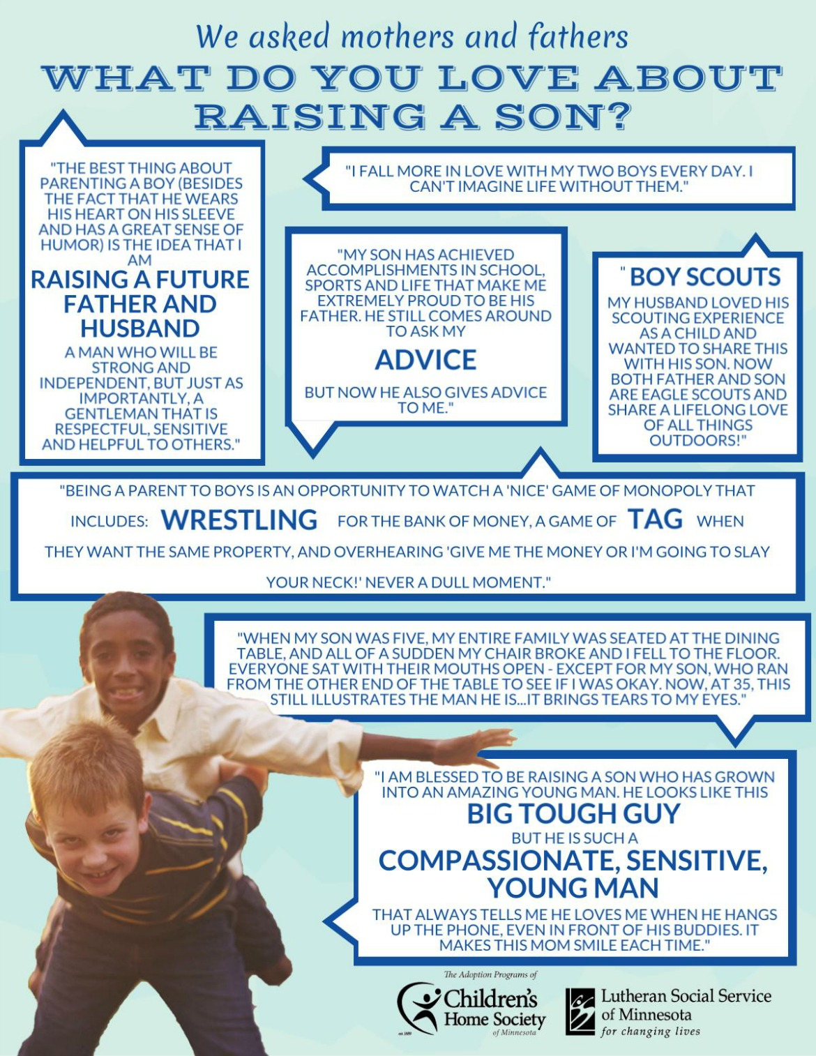 Infographic of parent quotes about raising sons