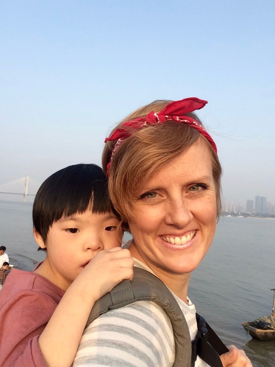 Starting to warm up to her new mama in China